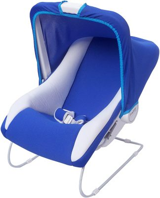 Ehomekart Carry Cot Cum Bouncer - 10 in 1 - Feeding Chair, Baby Chair, Rocker, Bath TUB, Carrying, Bouncer, Bottle Holder & Baby Swing (Blue)