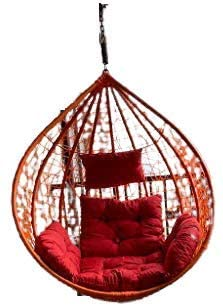 CITE Outdoor/Indoor Furniture Single Seater Round Shape with Spring & Red Cushion Swing/Jhula, Beautiful Hanging Swing Without Stand