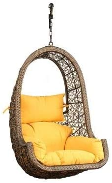 FurniFuture Maria Outdoor Hanging Swing Chair Without Stand (Golden)