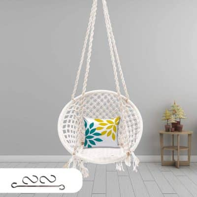 Patiofy (Made in India) Large Size Swing Chair with Free Accessories |Hammock - Hanging Chair Cotton Swing for Comfort...