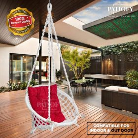 Patiofy Made in India with Free Accessories Hammock-Hanging Chair Cotton for Comfort Indoor and Outdoor/Swing for Kids, Adults, Home, with Square Shape...