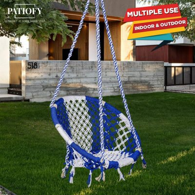 Patiofy Made in India Cotton Round Swing-Hanging Cotton Chair Swing with Accessories & Strong 4 ft. Chain for Indoor & Outdoor/150 Kg Capacity/Swing...